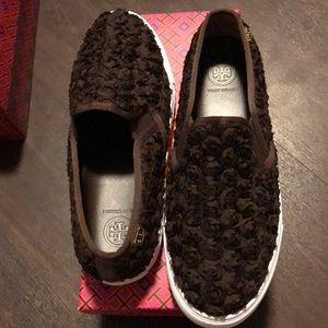 NIB Tory Burch floral detail slip-on sneakers, 8.5